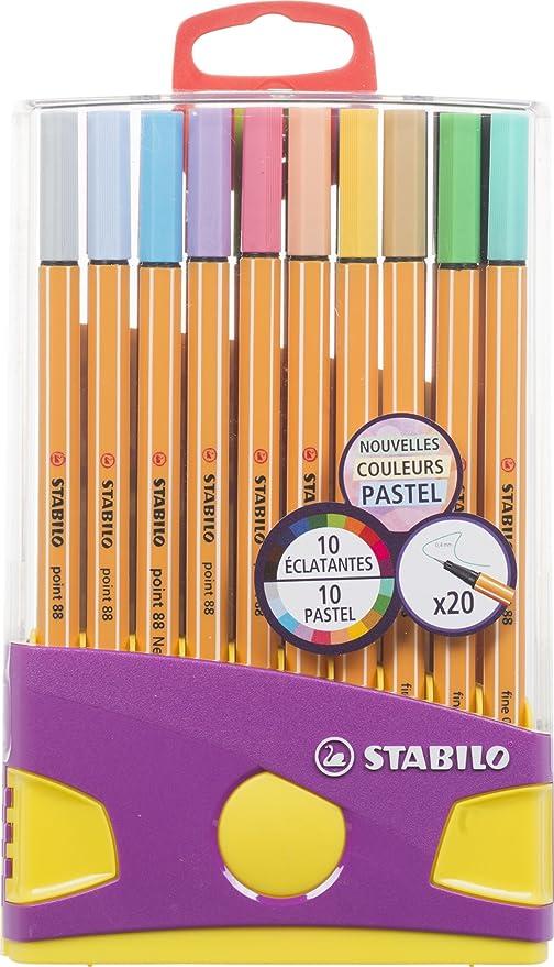 Stabilo Point - 20 rotuladores de colores surtidos, 10 de ellos color pastel: Amazon.es: Oficina y papelería