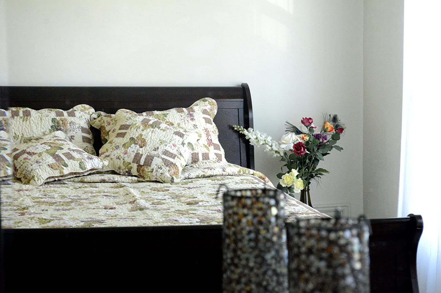 DaDa Bedding Floral Print Motif Patchwork Rose Garden Cotton Quilted Pillow Cases Covers Shams Set