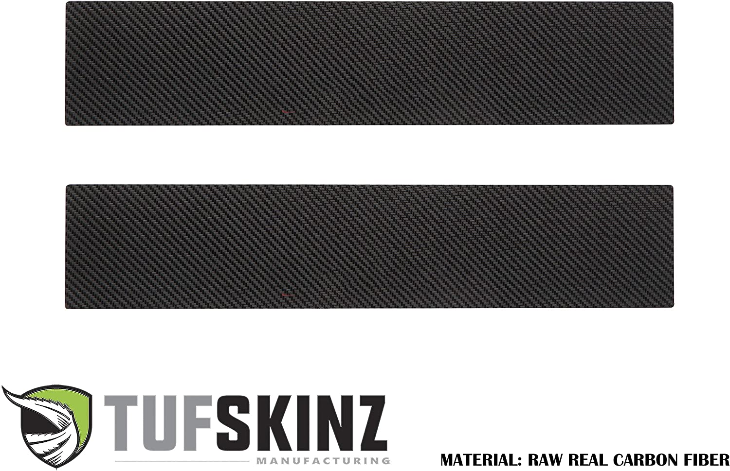 /… TufSkinz Compatible with 2015-Up Ford F-150-2 Piece Kit Real Carbon Fiber, Black w//Gray Outline Logo Front Door Sill Protection