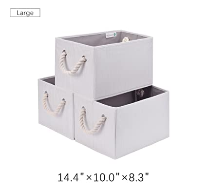 amazon com storageworks storage bins with strong cotton rope handle