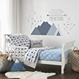 Levtex Baby - Trail Mix Toddler Bed Set - Grey, Navy and Blue - Bear Mountain - 5 Piece Set Includes Reversible Quilt, Fitted