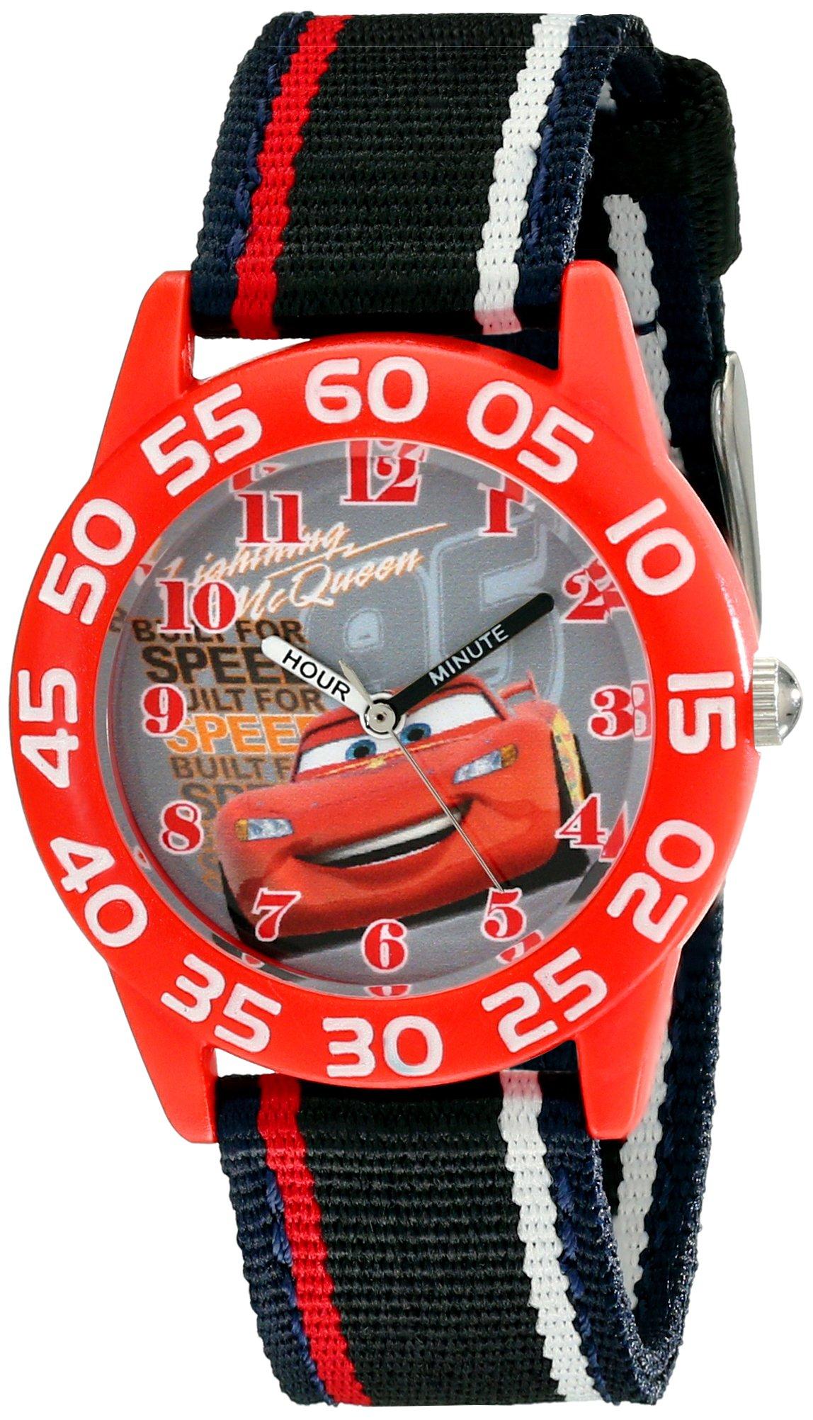 Disney Kids' W001954 Cars Analog Watch With Striped Nylon Band by Disney