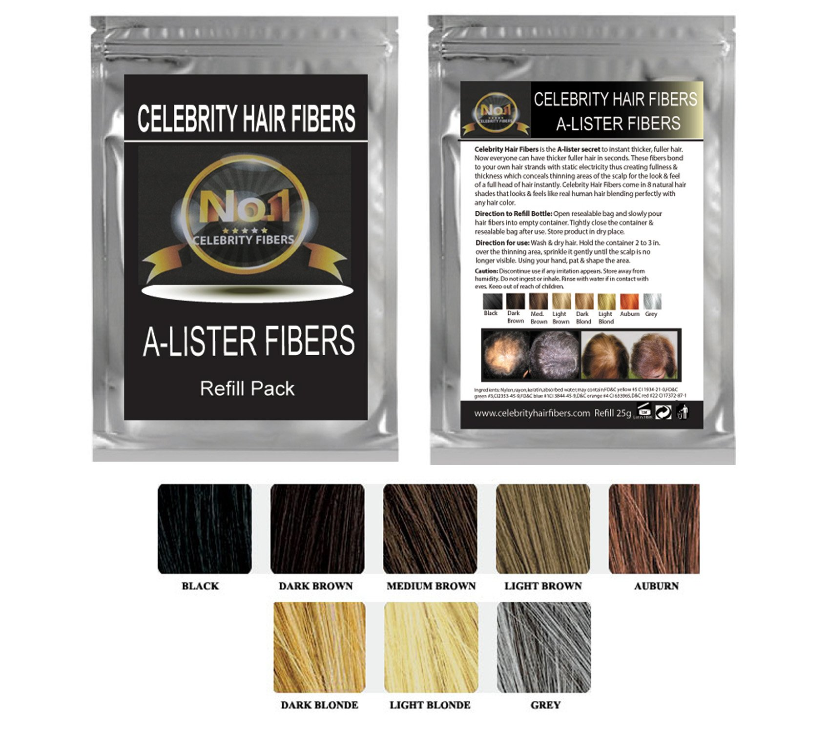 Hair Building Fibers- A-Lister REFILL Pak for Toppik, Nanogen, Xfusion, any Brand (50g, Black)
