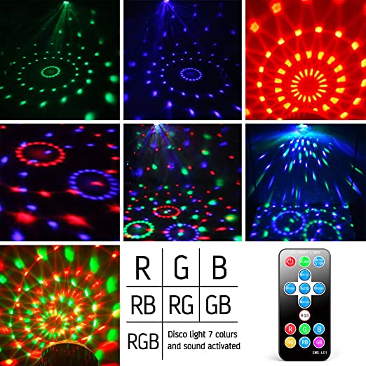 Amazon.com Party Lights Gvoo Sound Activated Disco Lights Rotating Ball Lights 5W 7 Modes RGB LED Stage Lights with Remote Control for Home Outdoor ...  sc 1 st  Amazon.com & Amazon.com: Party Lights Gvoo Sound Activated Disco Lights ... azcodes.com