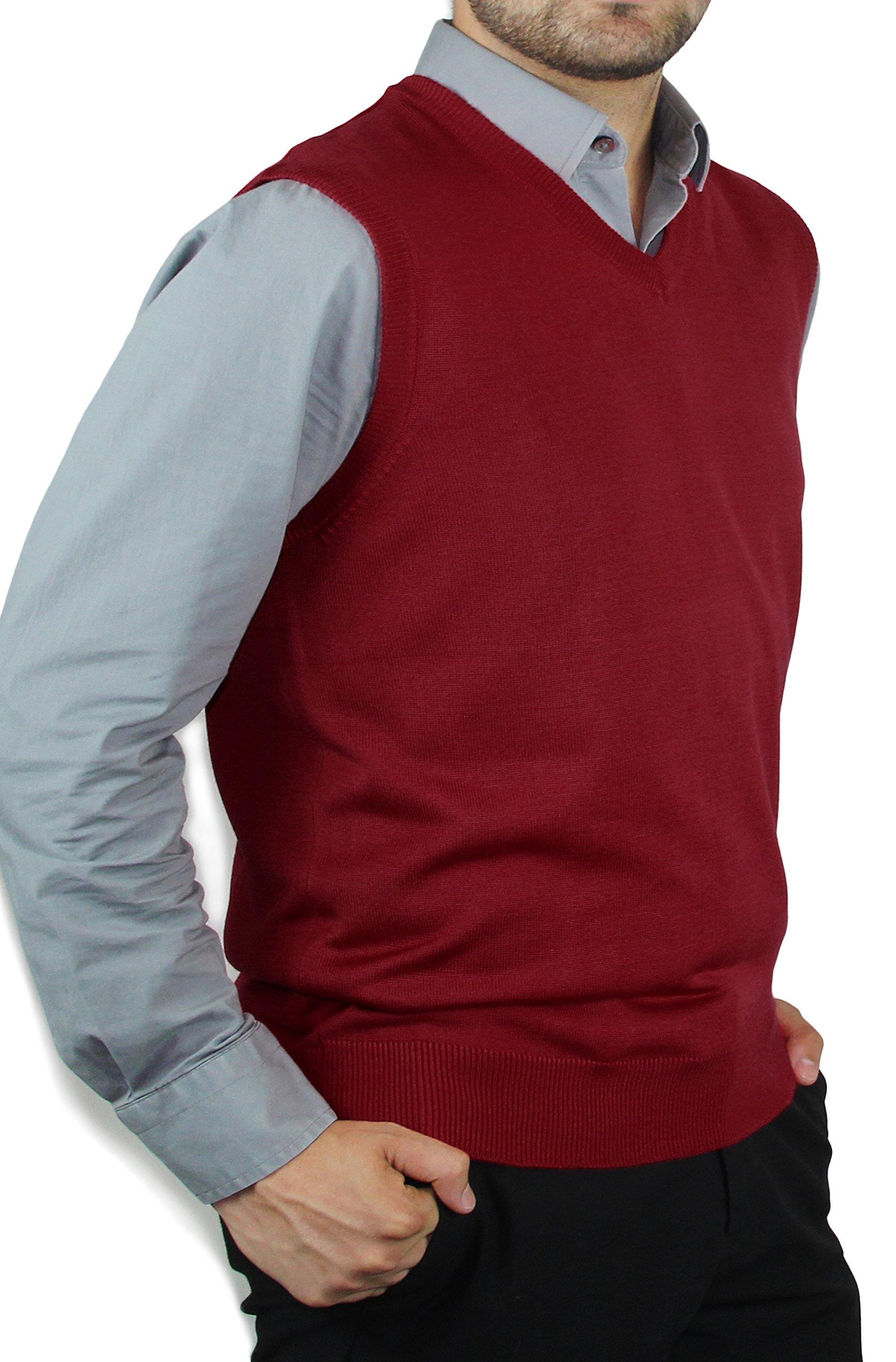 Blue Ocean Solid Color Sweater Vest-Medium Burgundy by Blue Ocean