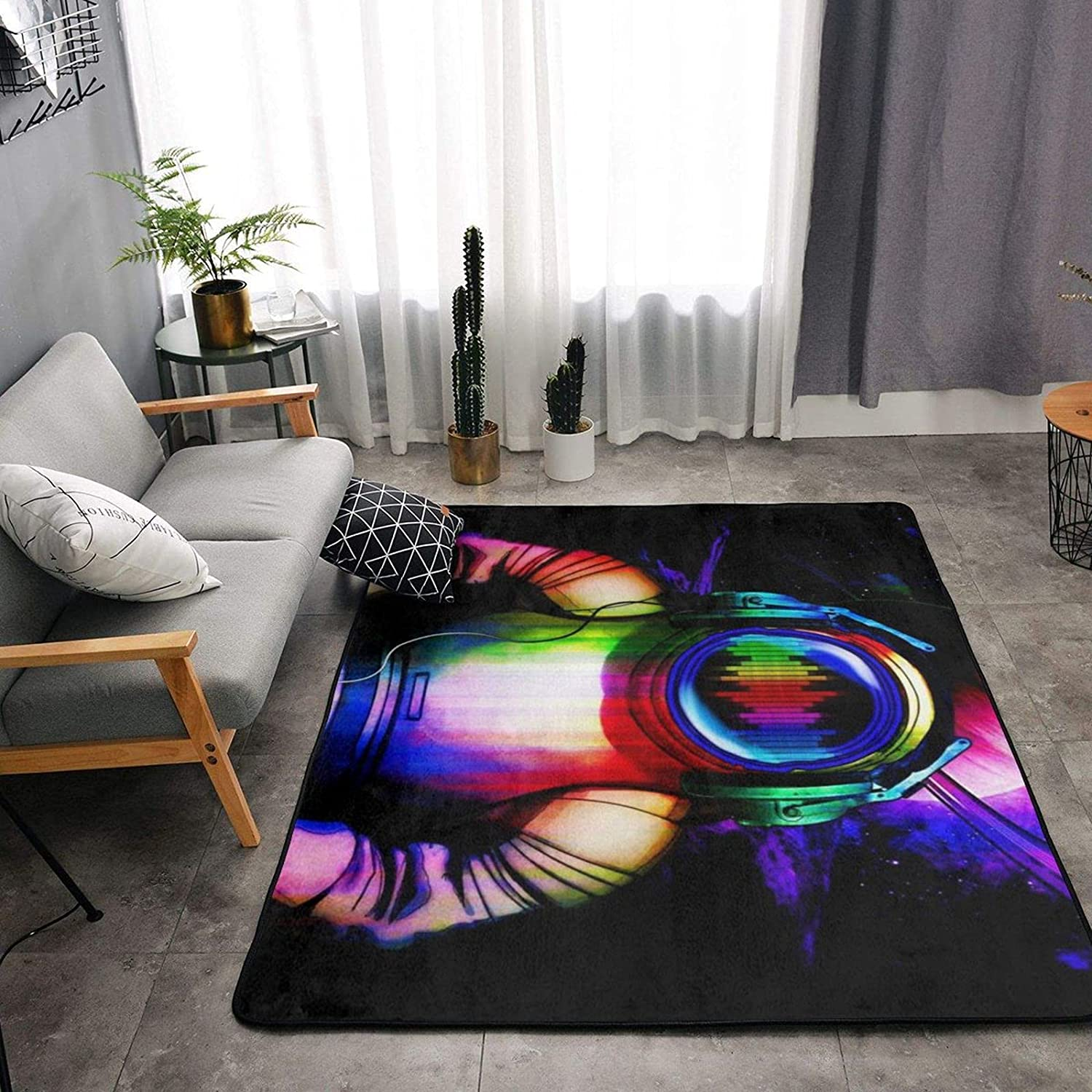 Galaxy Music Astronaut Soft Area Rugs for Bedroom, Washable Fluffy Carpets for Nursery Baby Rooms Non Slip Kids Play Mats Holiday Decor Rug, 4x5 Feet