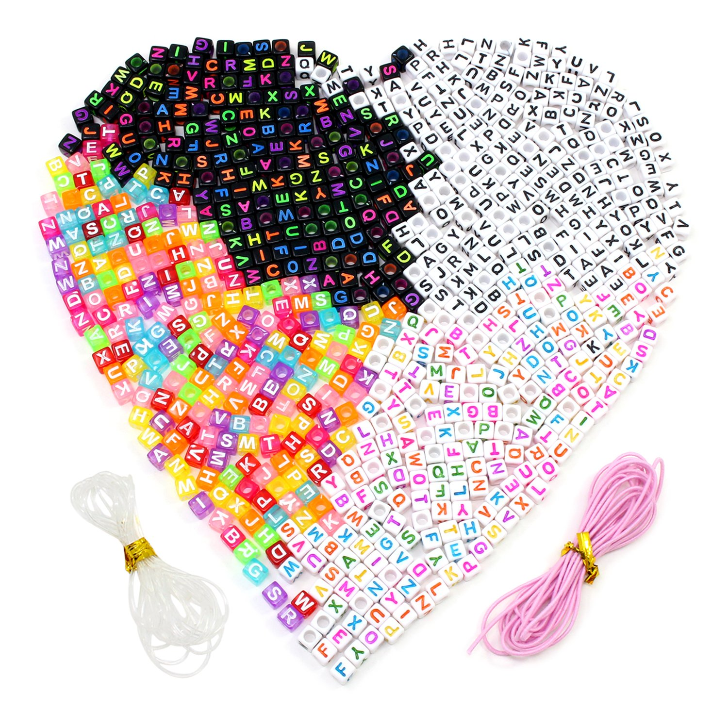 ESUMIC Colorful Acrylic Plastic Letter Beads Spacer Cube Alphabet Beads A-Z Cube Beads for DIY Bracelets Necklaces Chains 4Colors 800Pcs