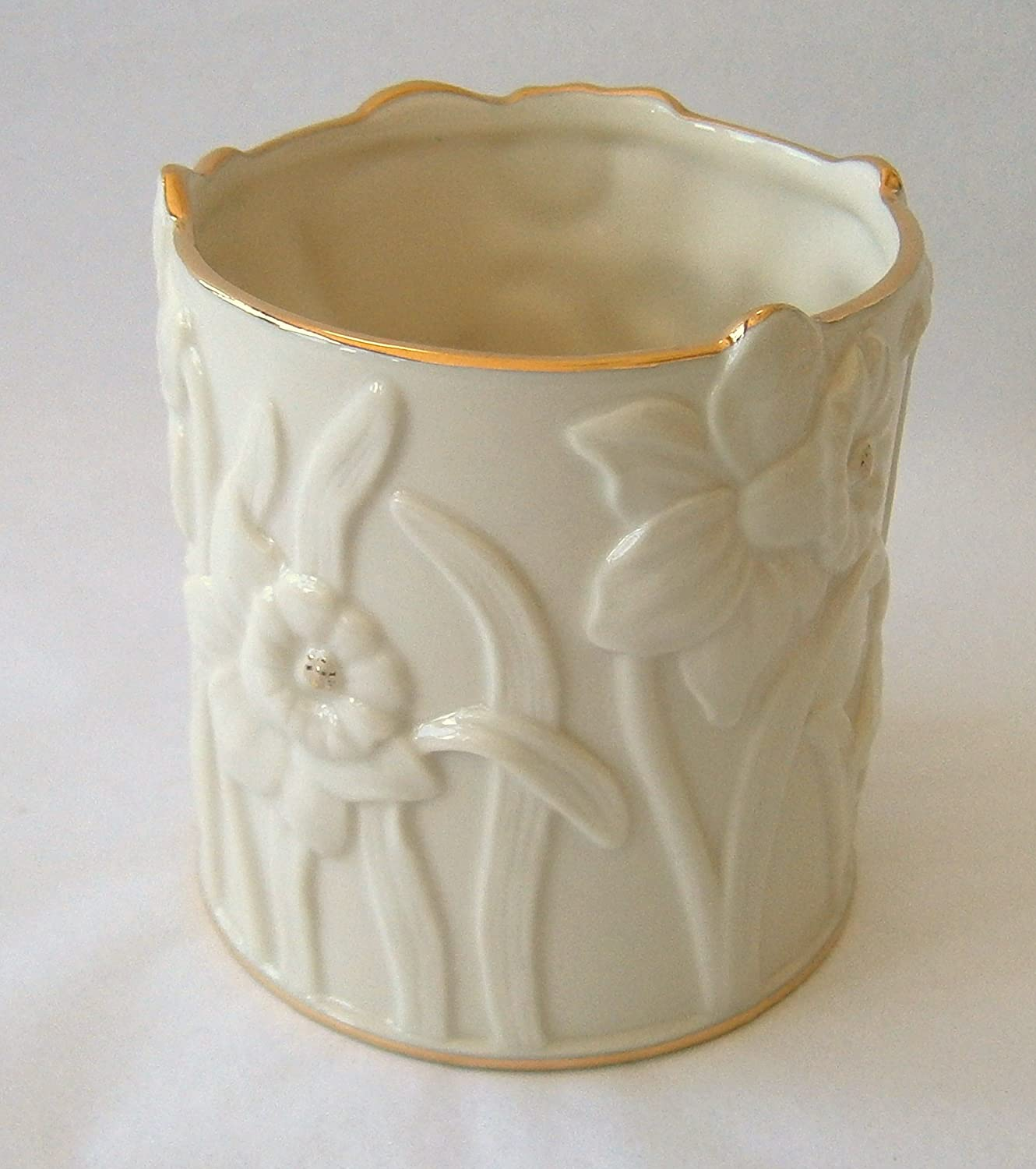 Daffodil Design Votive Holder Ivory Color with Gold Trim Tea Candle Included # 827884 Lenox