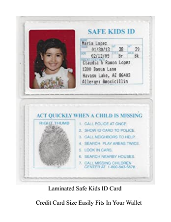 AmazonCom Safe Kids Id Laminated Id Cards Child Id For Kids  Ids