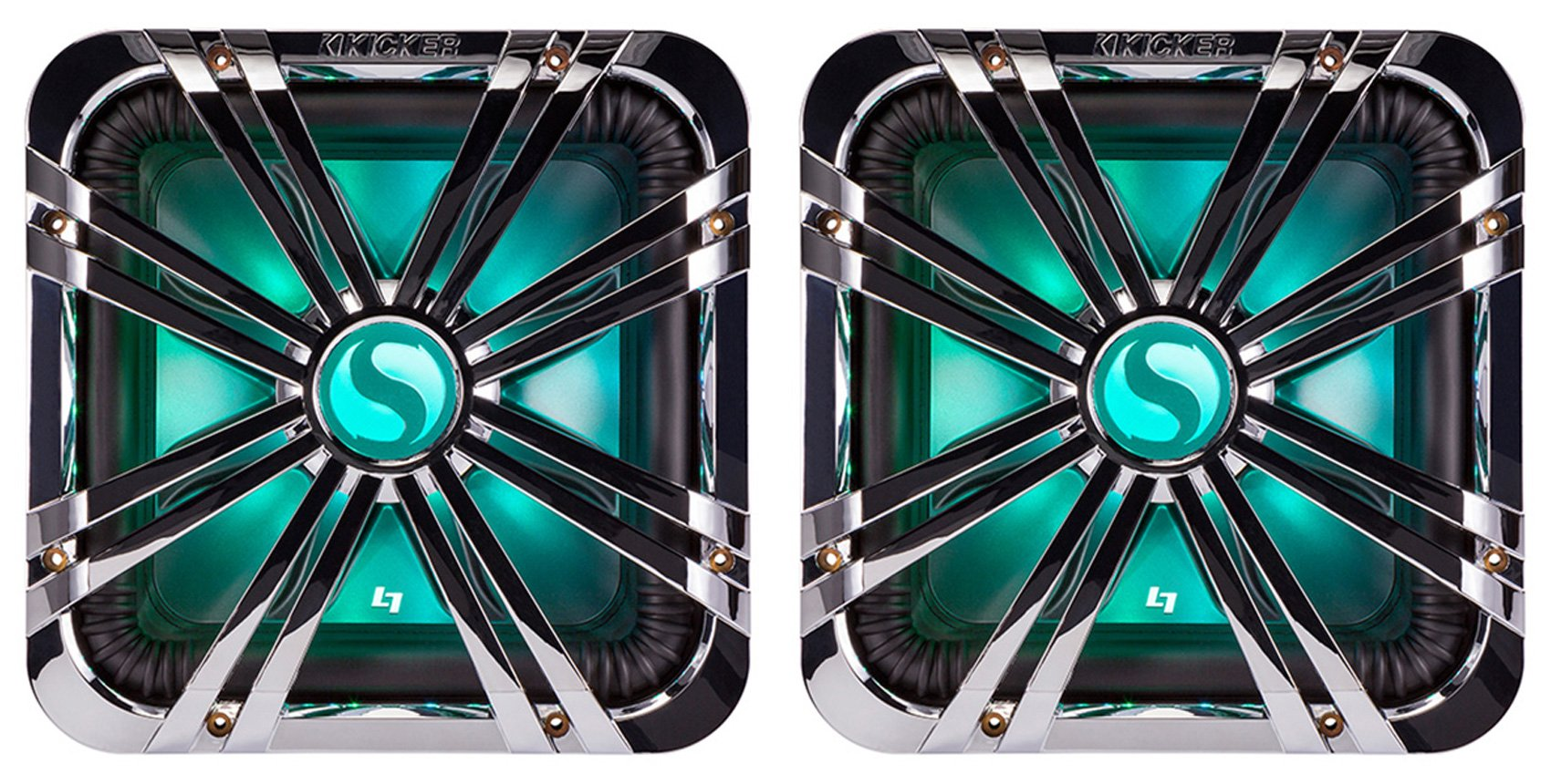 (2) Kicker 11L710GLCR 10'' Chrome LED Grilles 4 SoloBaric 11S10L7 Subwoofers Subs