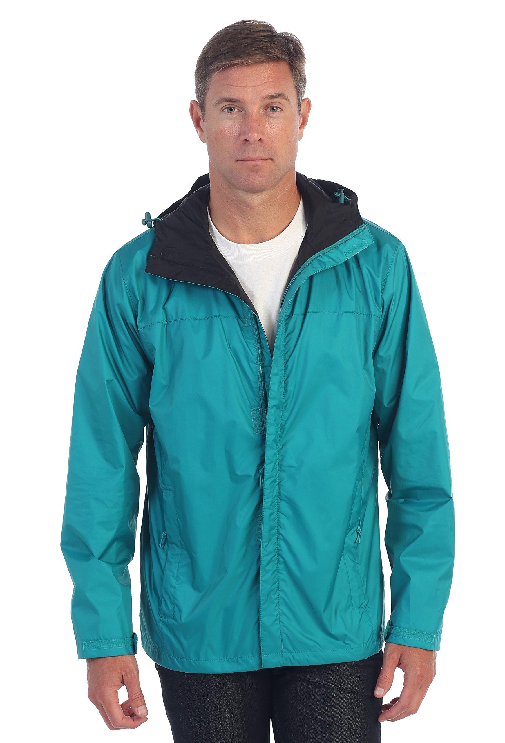 Gioberti Men's Waterproof Rain Jacket, Green, XL