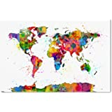 Amazon paint splashes world map by michael tompsett 30x47 inch trademark fine art map of the world watercolor by michael tompsett 30x47 inch canvas gumiabroncs Gallery