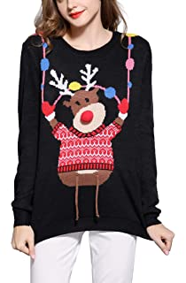 v28 Women s Christmas Reindeer Snowflakes Sweater Pullover at Amazon ... ff7d62a25