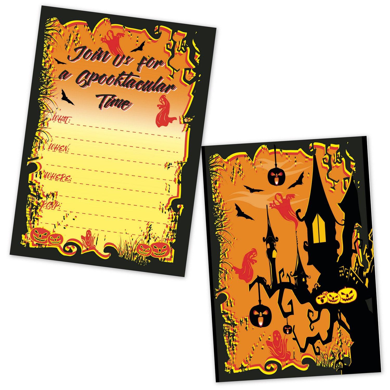 Halloween Party Invitations - Spooky Haunted House Jack O Lantern Invites - (20 Invites with Envelopes)