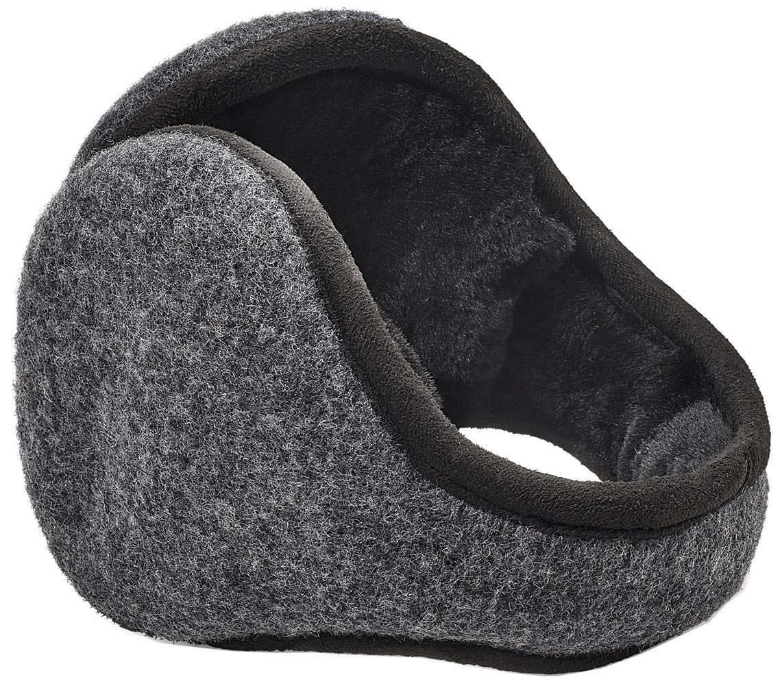 UGG Mens Wool Earmuff, Charcoal, Size One Size