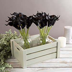 Pure Garden Artificial Calla-Lily with Stems-Real Touch Fake Flowers for Home Decor Wedding, Bridal/Baby Shower, More-24 Pc Set (Black)