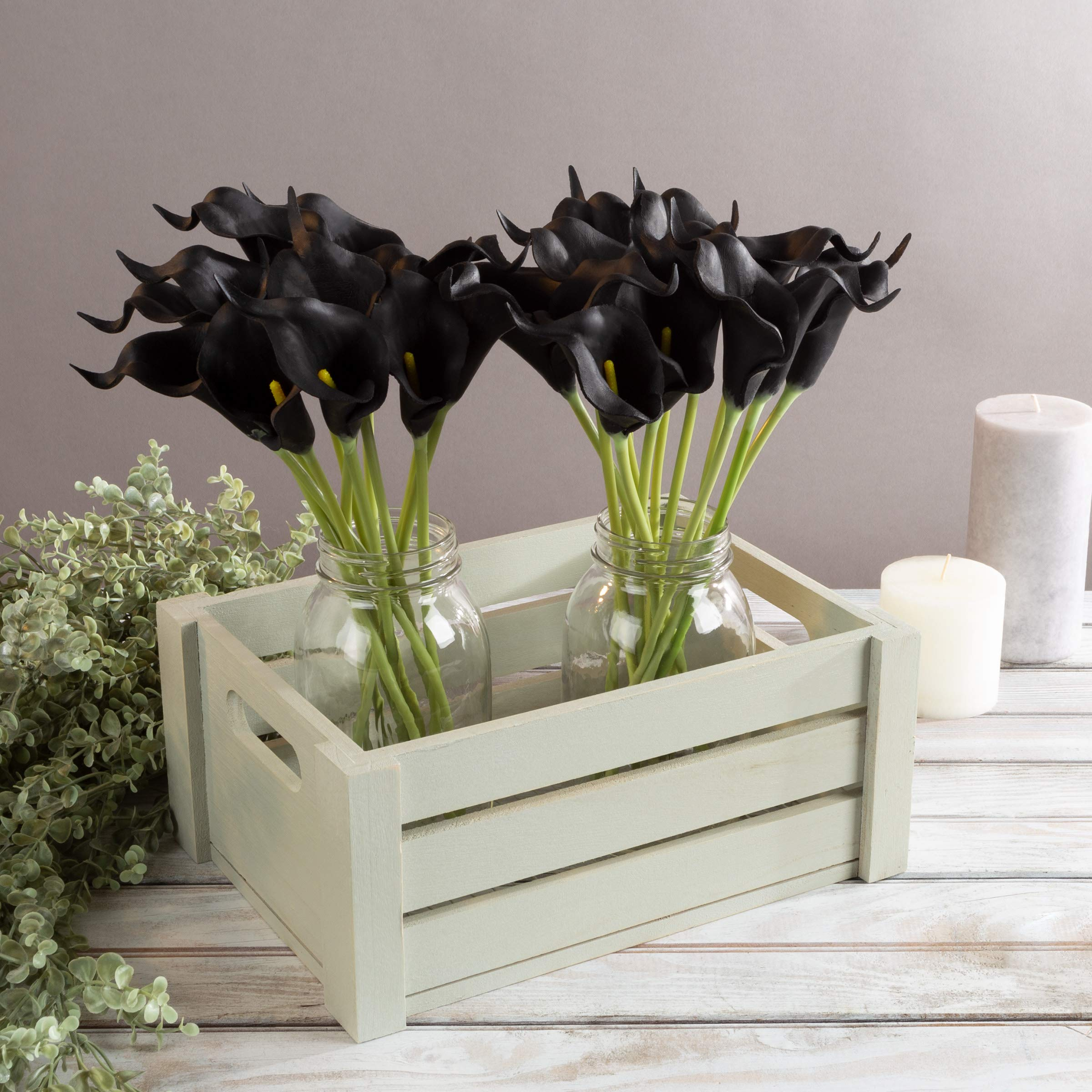 Pure Garden Artificial Calla-Lily with Stems - Real Touch Fake Flowers for Home Decor Wedding, Bridal/Baby Shower, More-24 Pc Set), Black by Pure Garden