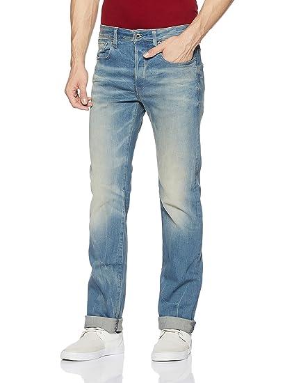 9930ef3061c G-Star Raw Men's 3301 Straight Fit Jean in Cyclo Stretch Denim, Light Aged