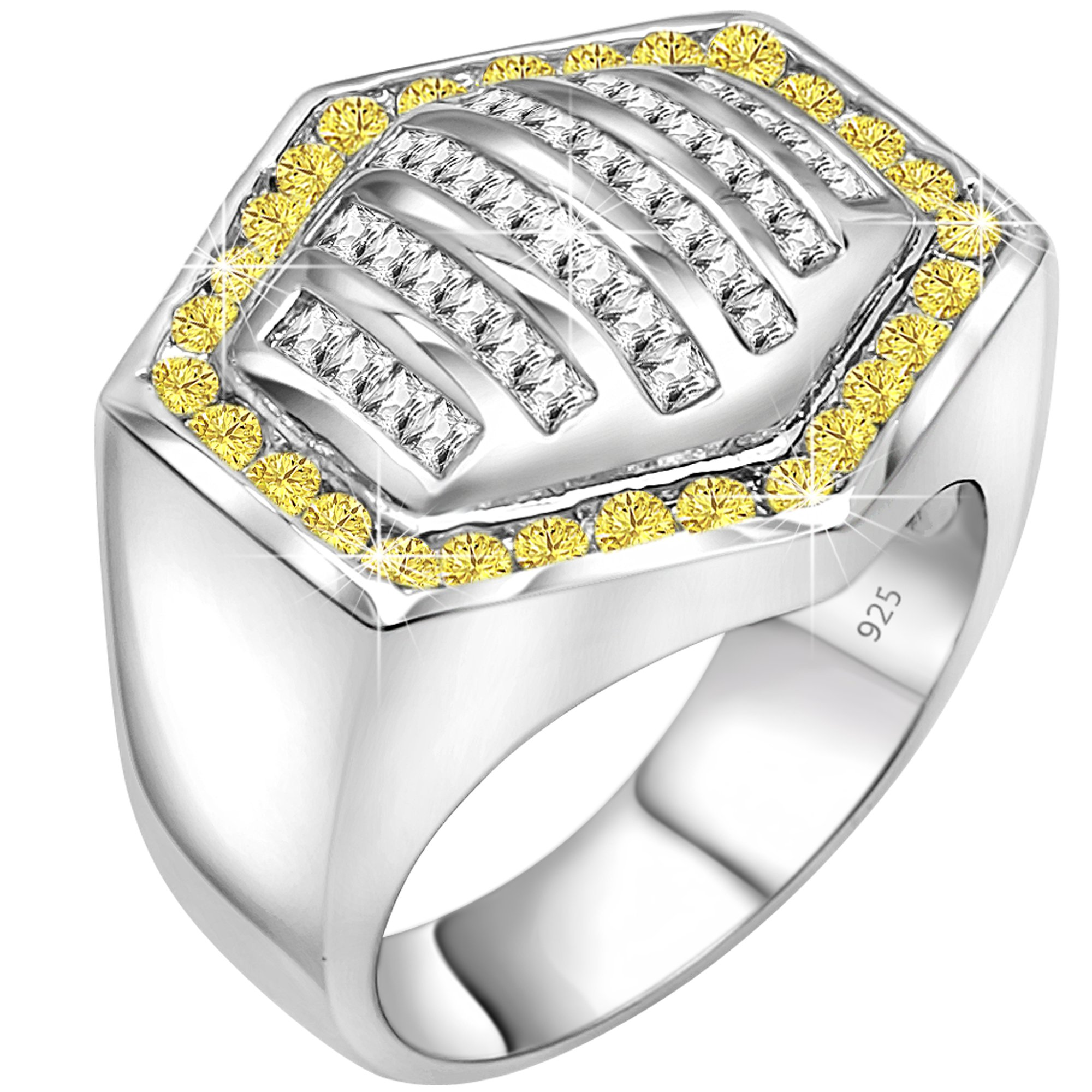 Men's Sterling Silver .925 Hexagonal Ring Featuring 64 White and Canary Yellow Round and Baguette Cubic Zirconia (CZ) Stones, Platinum Plated Jewelry (14)