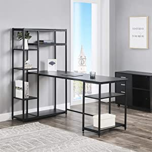 Modern Luxe L-Shaped Corner with Bookshelf 2-Pieces Computer PC Table Set Home Office Desk with Shelves, Black