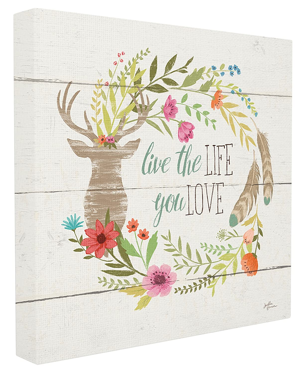 24 x 24 The Stupell Home D/écor Collection Rustic Blooms Live the Life You Love Stretched Canvas Wall Art