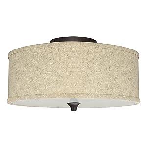"""Kira Home Newport 14"""" 2-Light Semi-Flush Mount Ceiling Light + Beige Linen Drum Shade, Oil-Rubbed Bronze Finish"""