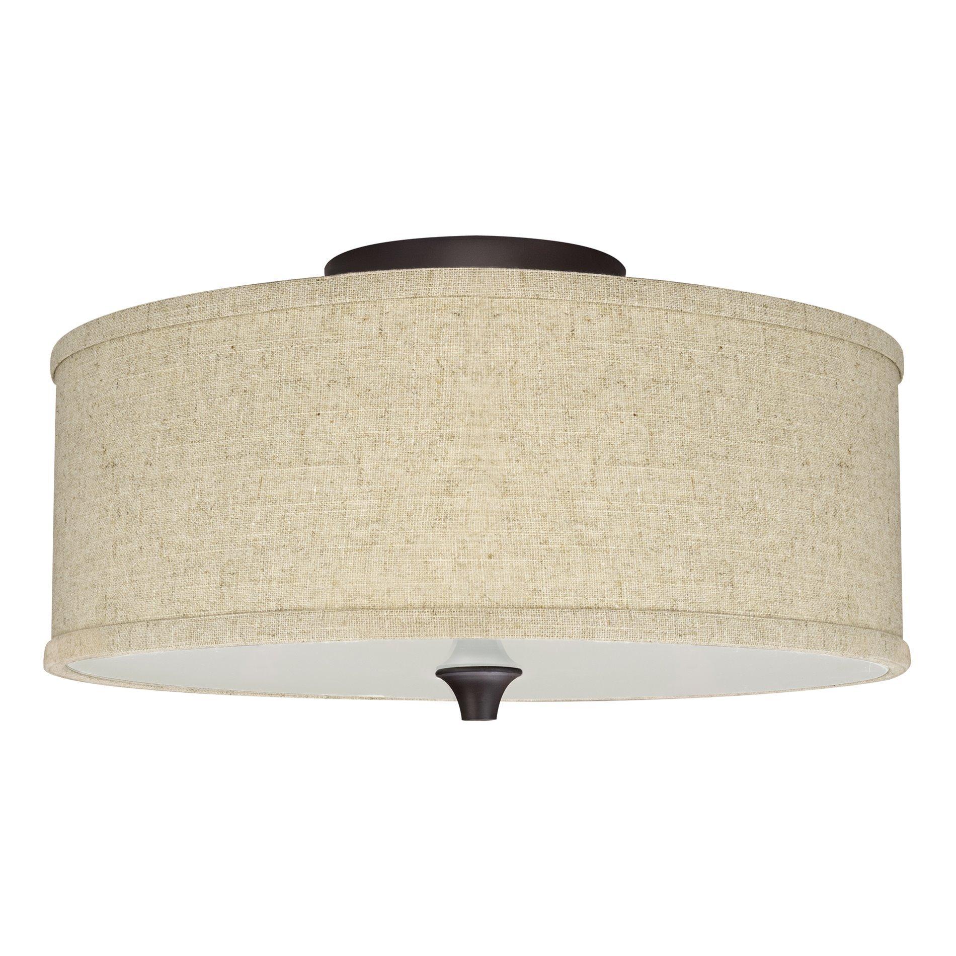 Kira Home Newport 14'' 2-Light Semi-Flush Mount Ceiling Light + Beige Linen Drum Shade, Oil-Rubbed Bronze Finish