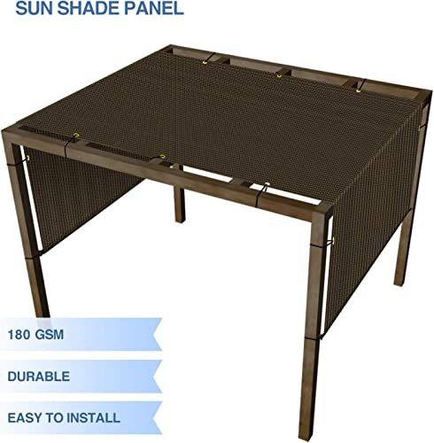 E K Sunrise Outdoor Shade Canopy Cover Screen with Grommets Weighted Rods 11 x28 for Pergola Patio Deck Shade Cloth Sun Shade Panel 95 UV Block Brown