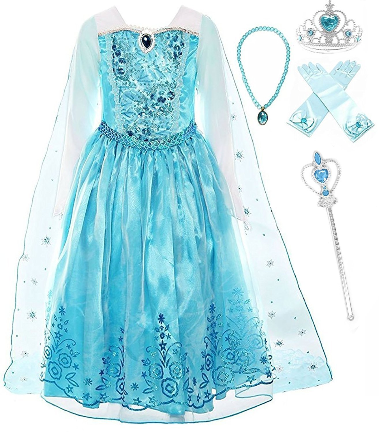 Romy's Collection Ice Queen Blue Party Princess Elsa Costume Dress-up Set, 5-6