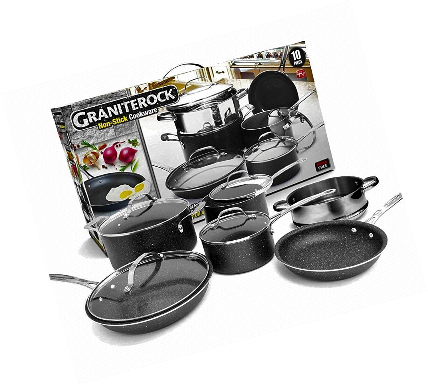 Ultra Durable Scratch Proof Complete Cookware Set Granite Rock 10-Piece Nonstick New