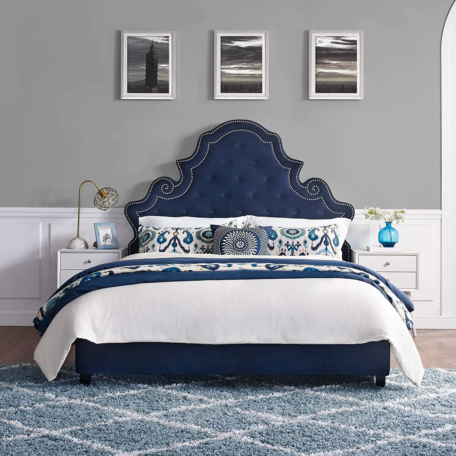 Modway Valentina Performance Velvet Tufted Queen Platform Bed in Navy