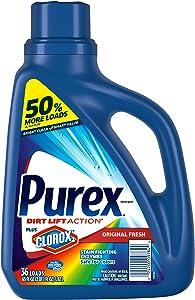 Purex Liquid Laundry Detergent Plus Clorox 2, Original Fresh, 65 Fluid Ounces, 36 Loads