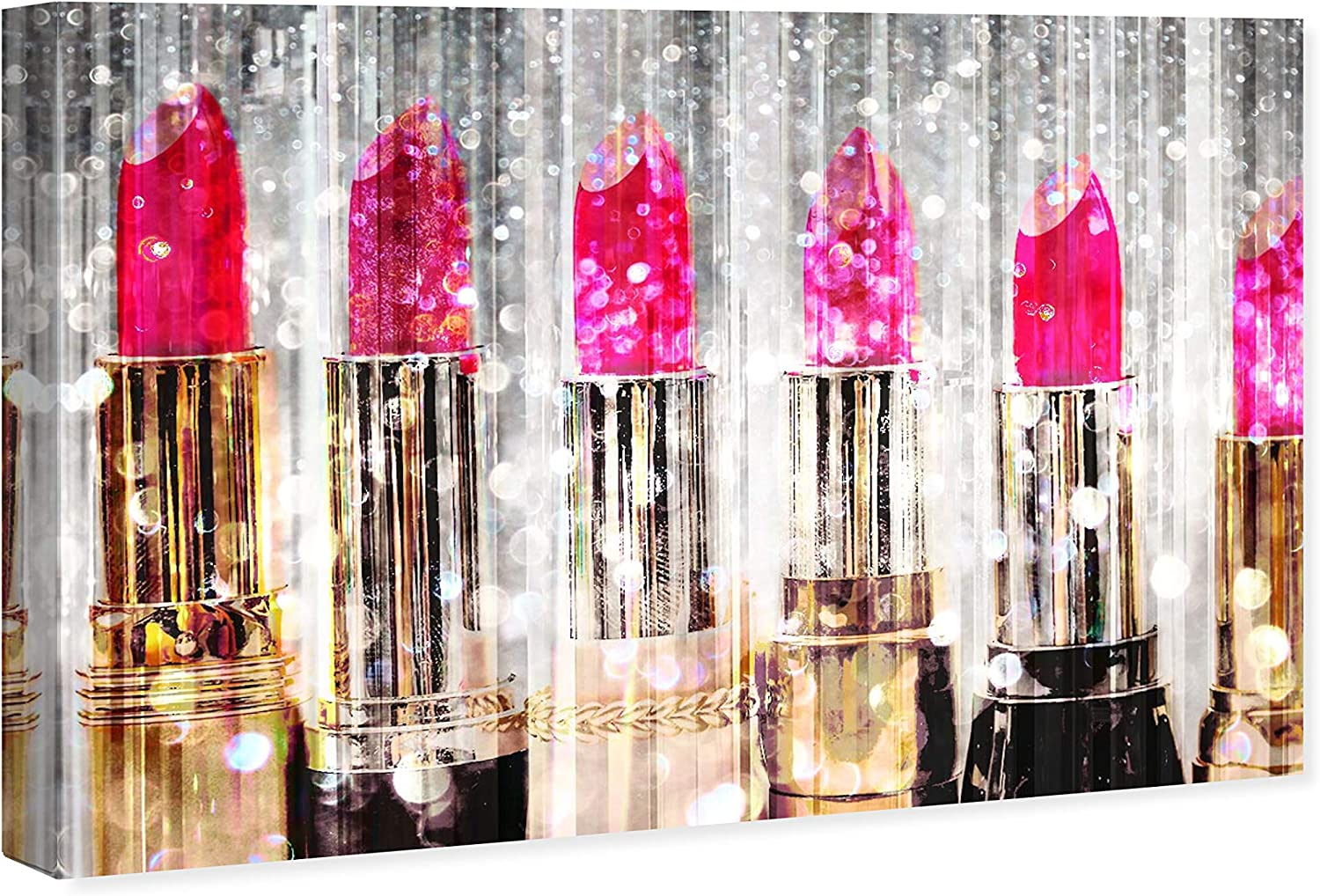 Amazon Com The Oliver Gal Artist Co Fashion And Glam Wall Art Canvas Prints Lipstick Collection Home Décor 36 X 24 Pink Gold Home Kitchen