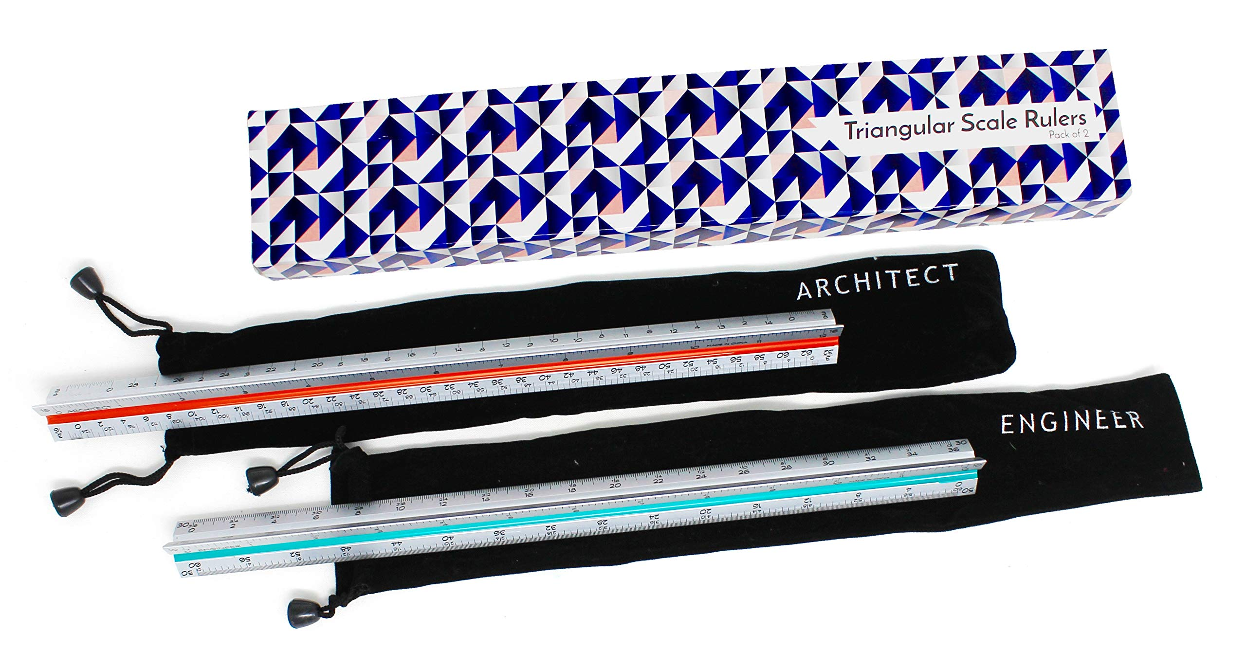 Architectural Scale Ruler for Blueprints and Engineering   Set of Two Aluminum Triangular Rulers - 1 Architect Imperial and 1 Engineer Scaled   Includes Protective Sleeves - 2 Pack by Noe & Malu (Image #1)