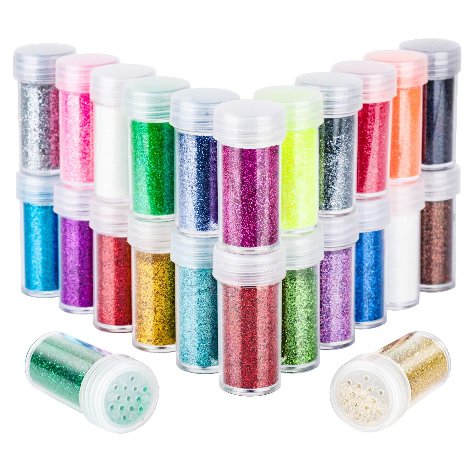 24 Colors Body Glitter, LEOBRO Cruelty-Free Extra Fine Glitter for Resin, Festival Glitter Makeup Glitter Cosmetic Glitter for Nail Art Face Body Hair, Art Crafts Slime Eyeshadow Lip Gloss Making