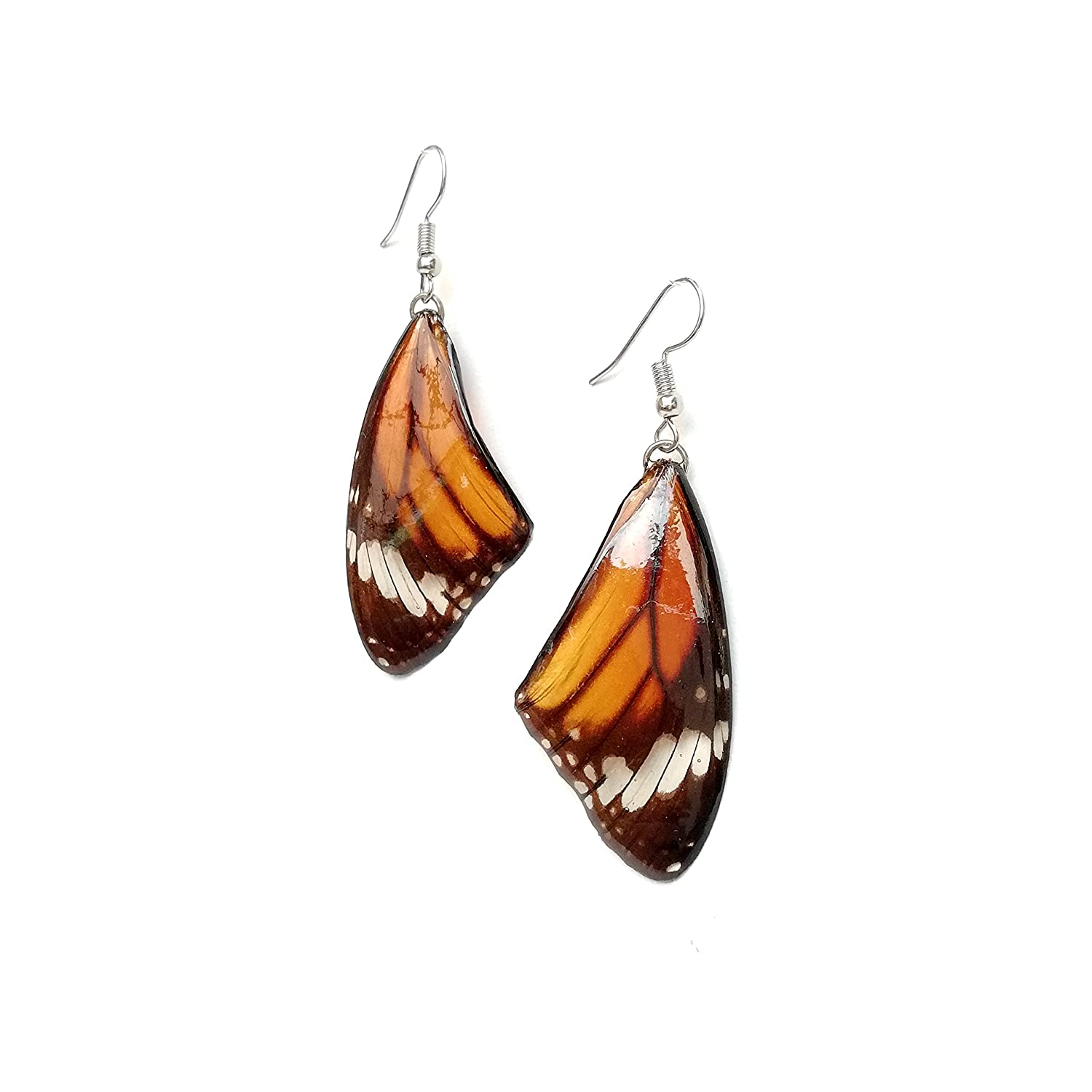 Real Natural Color Unpainted Butterfly Wing Drop Dangle Earrings Resin Coated Handmade Jewelry