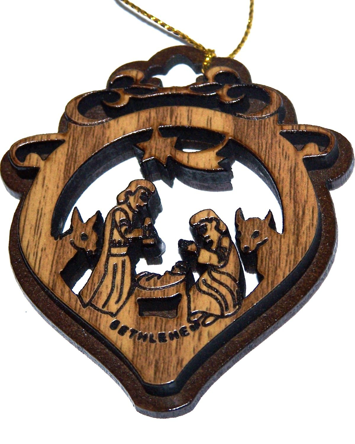 Two Layers Mahogany with Olive Wood Holy Family Nativity Scene Ornament Gift Carved by Laser - Olive Wood (7 cm or 2.8 inch with Certificate) and Gold String