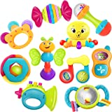 iPlay, iLearn 10pcs Baby Rattle Toys, Infant Shaker, Teether, Grab and Spin Rattles, Musical Toy Set, Early Educational, Newb