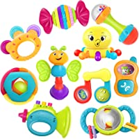 iPlay, iLearn 10pcs Baby Rattle Toys, Infant Shaker, Teether, Grab and Spin Rattles, Musical Toy Set, Early Educational…