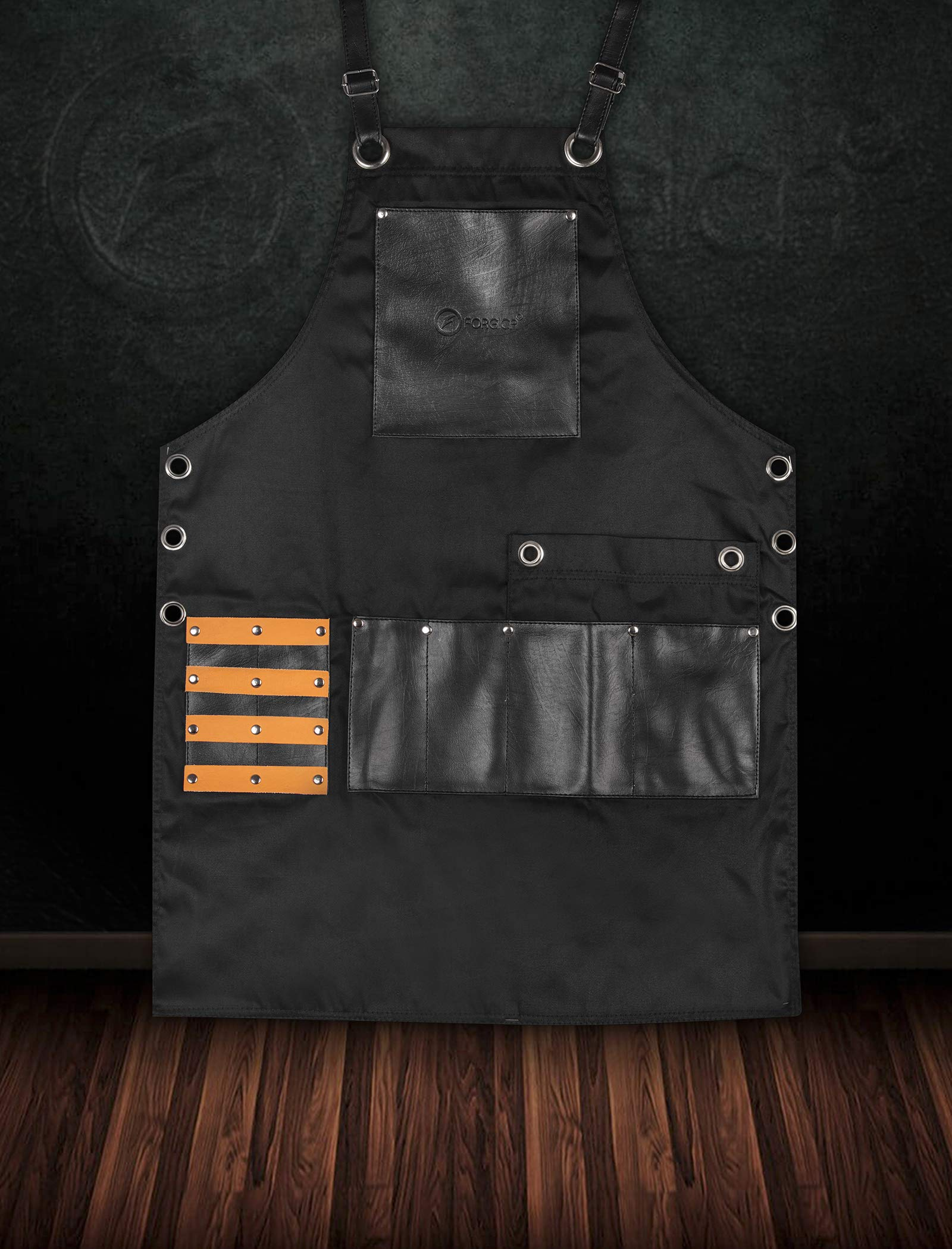 FORGICA Bib Apron Professional PU Leather Aprons for men Barber Apron for kitchen Salon Hairstylist - Multi-use, Adjustable size 8 pockets - Heavy Duty Premium Quality Aprons for Women - NY Edition by Forgica