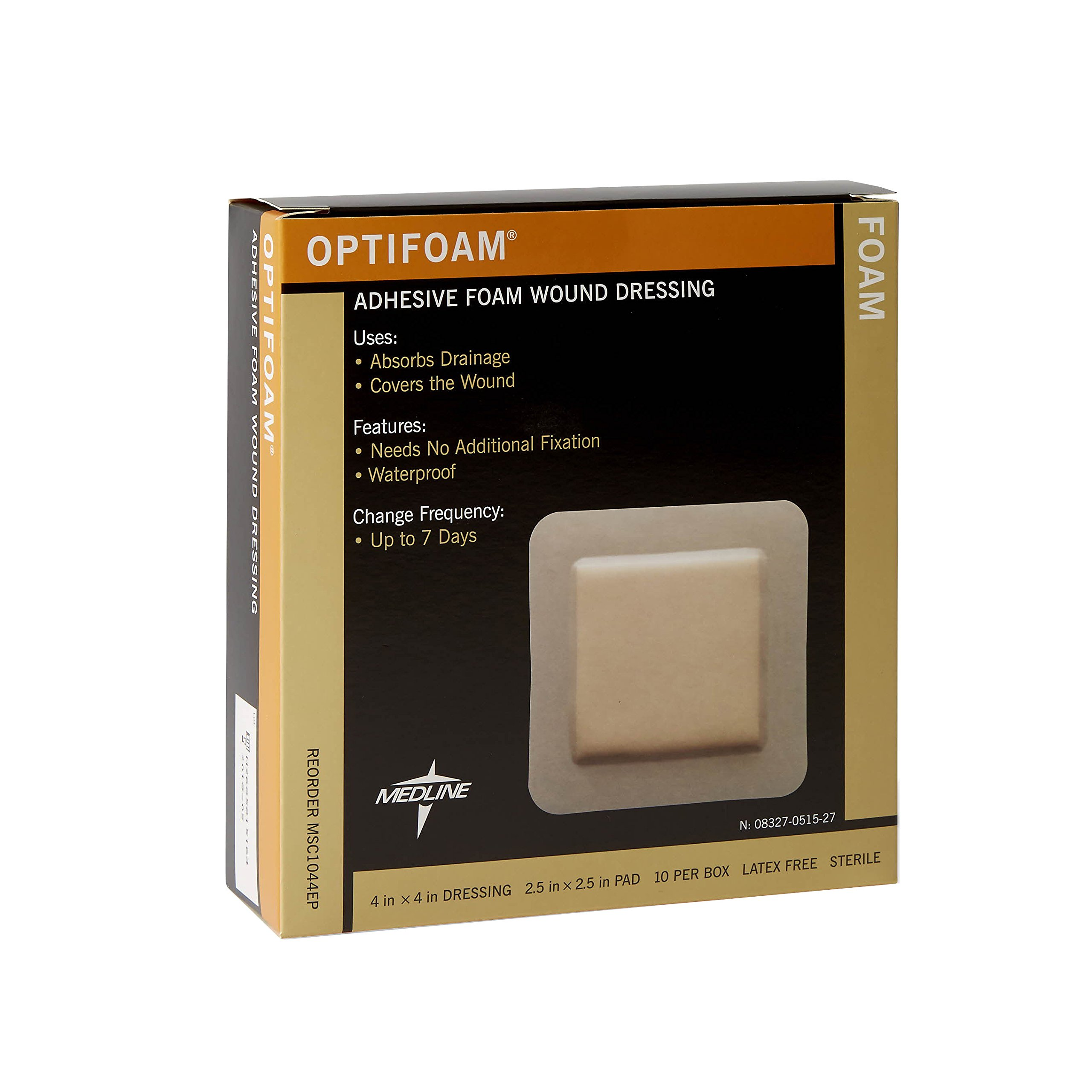 Medline MSC1044EPZ Optifoam Adhesive Dressings, 4'' x 4'' (Pack of 10) by Medline