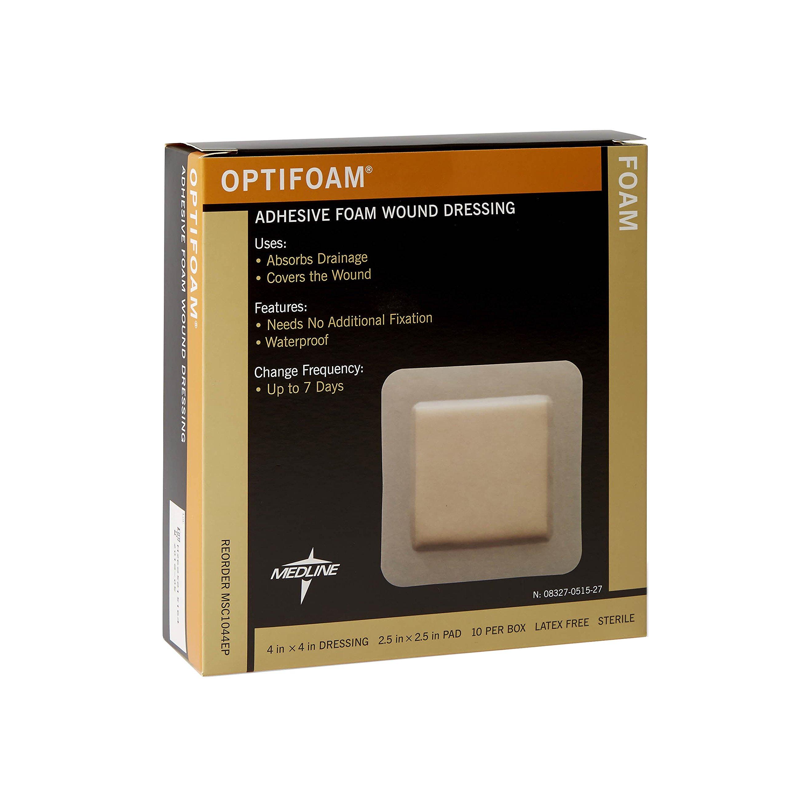 Medline MSC1044EPZ Optifoam Adhesive Dressings, 4'' x 4'' (Pack of 10)