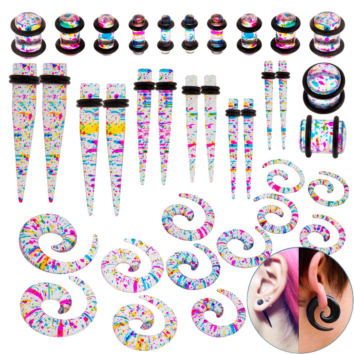 36pcs Tapers and Plugs With O Rings / Piercings Stretchers / Expanders Kit / Set / Lot With Different Gauges / Sizes for Ears / Earlobes Stretching VAGA AHGRD008516