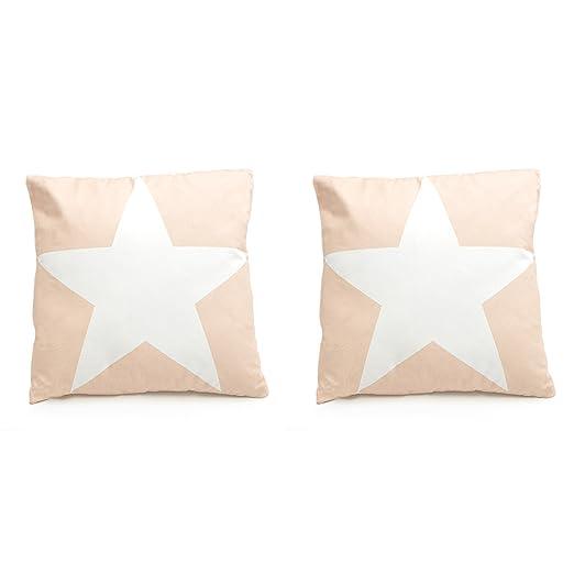 Pink Papaya - Cojín decorativo, sofá cojín con estrella, 45 ...