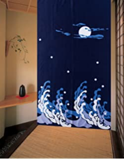 Dark Blue Peaceful Night Pattern Doorway Curtain Big Waves And Bright Moon  Shinny Stars Japanese Style