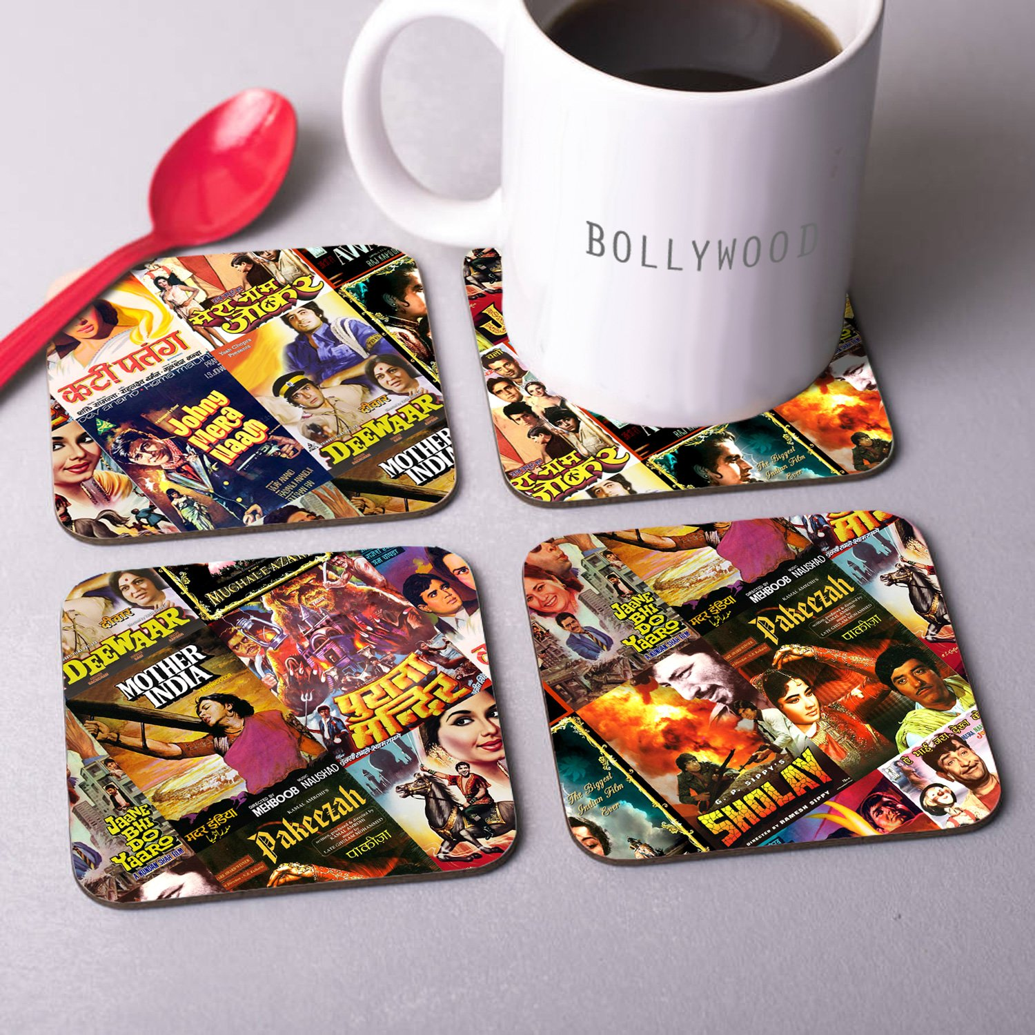 Bollywood Coasters With Poster Prints For Hindi Movie Fans - Set Of Four
