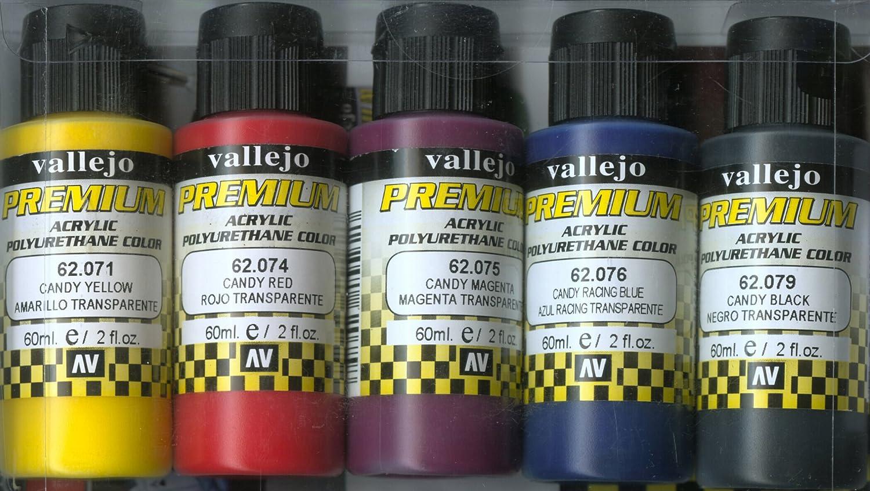 Charming Candy Yellow Spray Paint Part - 14: Amazon.com: Vallejo Color Set Candy Colors Premium RC Colors: Toys U0026 Games