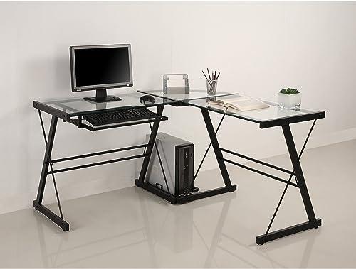Home Accent Furnishings Millie 51″ Modern Metal Glass Corner Computer Desk