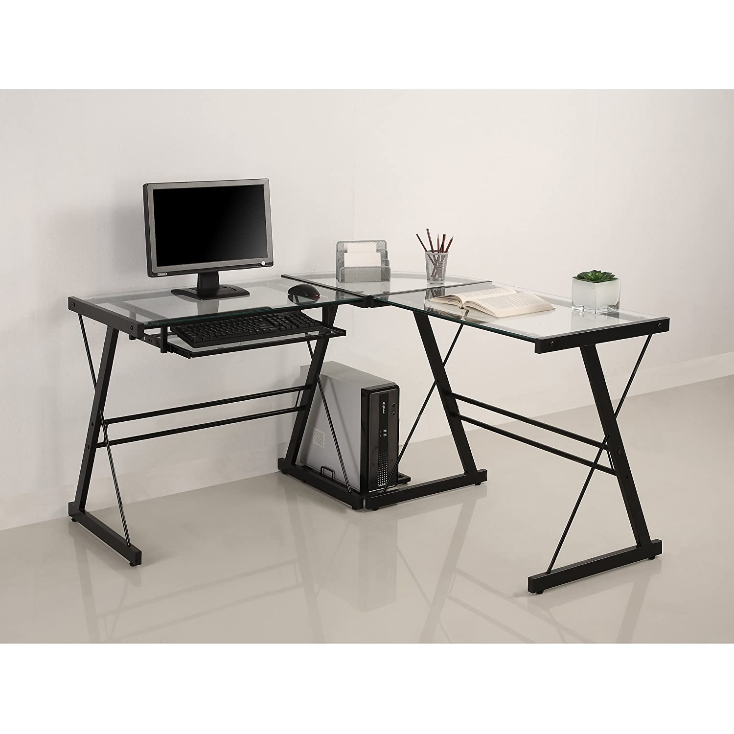 amazoncom walker edison piece contemporary desk multi  - amazoncom walker edison piece contemporary desk multi kitchen  dining