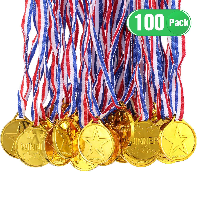 Gejoy 100 Pièces Médailles du Gagnant d'or en Plastique Enfant Médailles des Gagnants Or